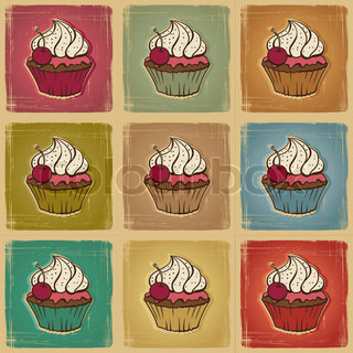 Seamless pattern made of cupcakes Vintage background