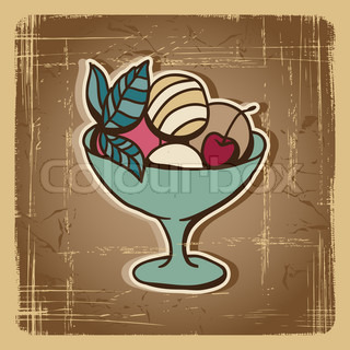 Vector illustration of Ice Cream in retro style Vintage card