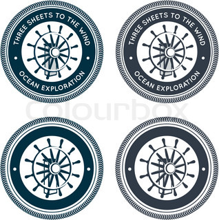 Nautical emblem with steering wheel
