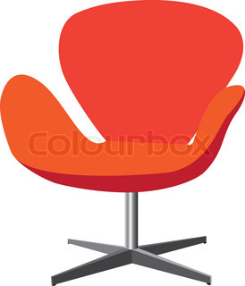 Modern, comfortable, elegant and stylish chair illustration in red and orange color on white background