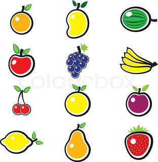 Collection of fresh, colorful and organic summer fruits illustration The fruits include mango, apple, banana, orange, lemon, sweet lime, grapes, strawberry, pear, plum, berries, watermelon, etc