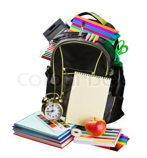 schoolbag with supplies for education