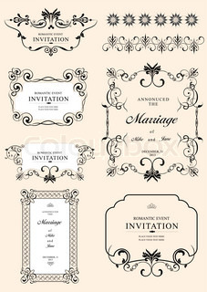 Big collection of ornate vector frames and ornaments with sample text Perfect as invitation or announcement All pieces are separate