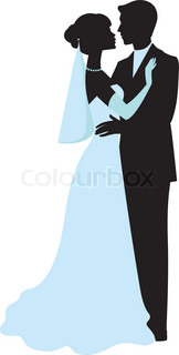 Bride and groom silhouettes