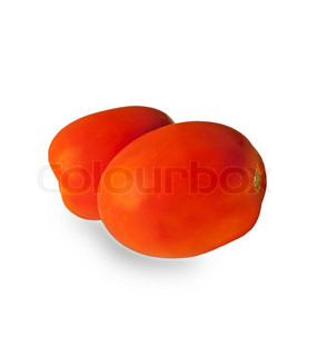 Two Plum tomatoesisolated on white background