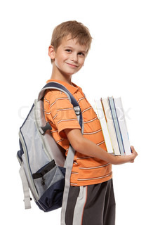 Boy holding books Back to school