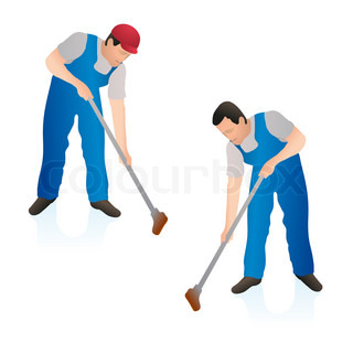Two Professional Cleaners Wiping The Floor Wall With A