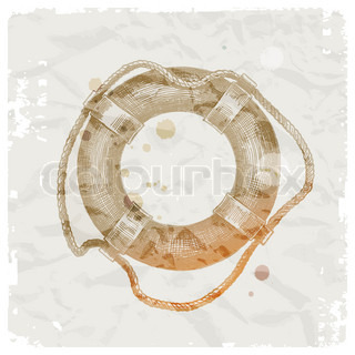 Hand drawn lifebuoy on grunge paper background - vector illustration