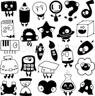 set of cartoon school objects silhouettes