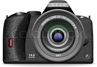 Vector illustration of DSLR photo camera isolated on white background. Front view.