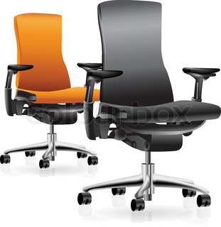 Set of two office chairs. Vector clip-art