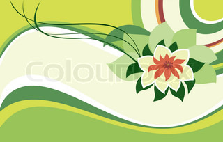Pink lotus on a green background
