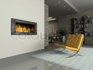 Part of the modern apartment with fireplace