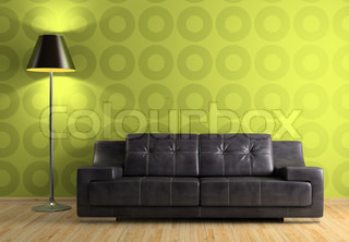 Part of the modern interior with sofa and lamp
