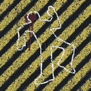 Murder Silhouette on yellow hazard lines Accident prevention or crime scene concept illustration Vector, EPS8