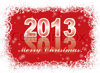 christmas and new year cardwith 2013 on a red winter background