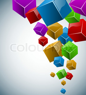 Colorful 3D cubes vector background with copy space.