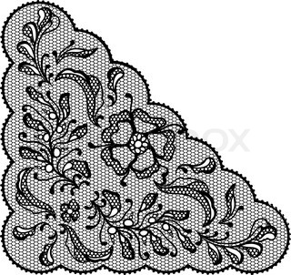 Vintage lace element, ornamental flowers Vector texture