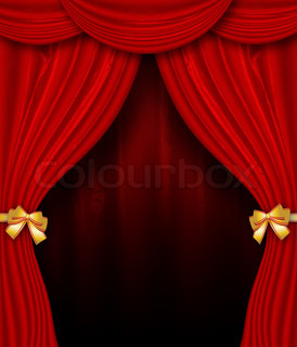 Red curtain with golden bows