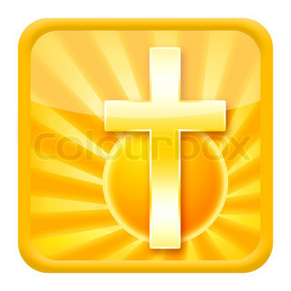 Christian icon with golden cross isolated on white background