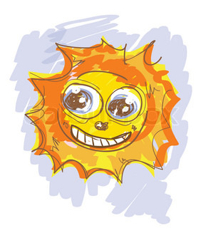 Cartoon sun with eyes and smile, hand drawn sketch