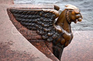 Griffin - bronze winged lion on the University Embankment in front of the Academy of Arts St Petersburg Russia