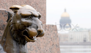 Griffin - bronze winged lions on the University Embankment in front of the Academy of Arts St Petersburg Russia