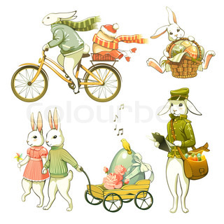 Clip art illustration of cartoon Easter bunnies  isolated on white background