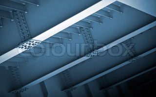 Abstract steel construction with beams and bolts junctions