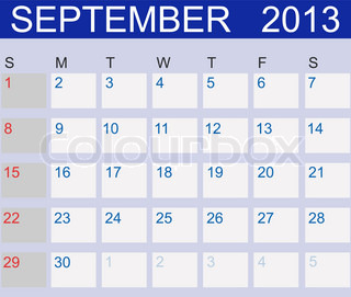 Calendar 2013 September Vector Illustration