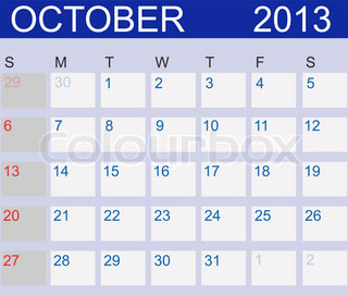 Calendar 2013 Vector IllustrationCalendar 2013 October Vector Illustration