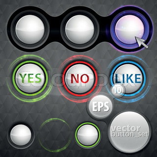 Set of buttons eps10 vector design elements, different variations of color, glow and shape