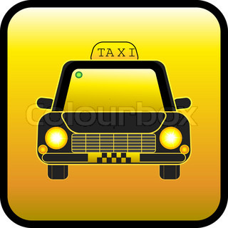 Taxi on a yellow background. Restangular button.