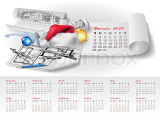 Calendar for 2013 with architectural design elements