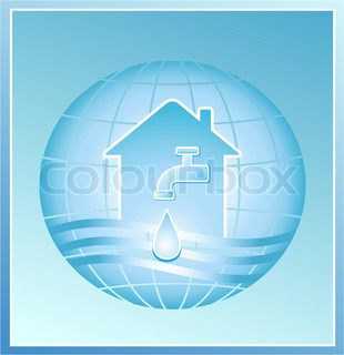 faucet with a clean drop of water against the background of the planet