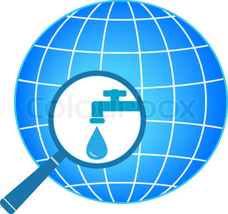 planet and magnifier with tap symbol of clean water