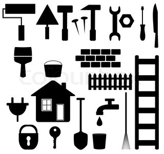 set black isolated tools silhouette for house repair and garden