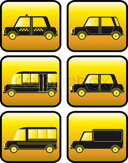 set of buttons with modern urban cars silhouette