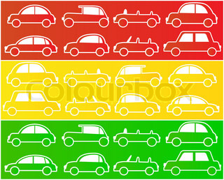 set of cars in colors of traffic lights