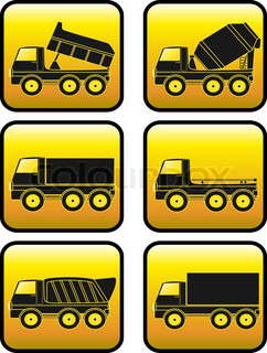 set of construction transport truck with yellow button