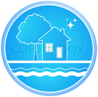 blue roun sign of clean environment with house and tree