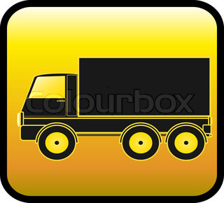 yellow sign with transport truck silhouette on a glossy background