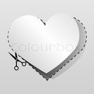 Blank white advertising heart shaped coupon cut from sheet of paper.