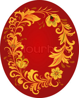 Hohloma style ornament with red copy space. Traditional Russian art style.