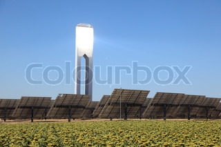 Solar power tower near Seville, Andalusia Spain