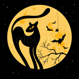 Vector Halloween background with black cat