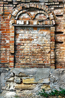 Crumbling Brick Wall With Arch Stock Photo Colourbox