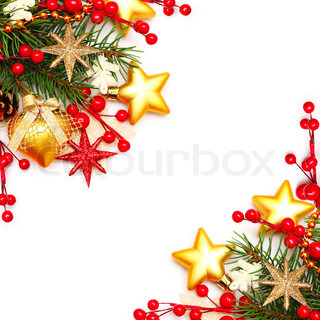 Border - Christmas background with red berry and gold stars