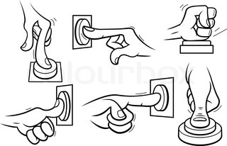 Cartoon hands pushing button Outline