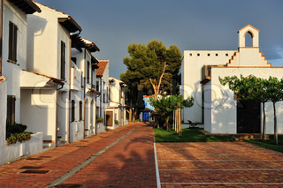 The court yard of the spanish houses in Alcossebre, Spain.